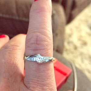 Size 19 sterling silver Cz Ring Marked!